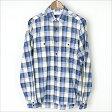 SAINT LAURENT PARIS サンローラン パリ 15SS 金糸チェック柄ポケットシャツ ブルー 39【中古】