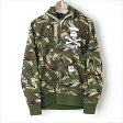 AAPE BY A BATHING APE エーエイプバイアベイシングエイプ サル迷彩ジップアップパーカー カーキ M【中古】