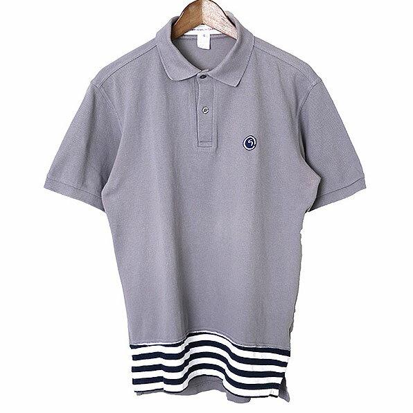 【中古】COMME des GARCONS SHIRT コムデギャルソン シャツ 08ss 胸ワッペンドッキングポロシャツ メンズ グレー S