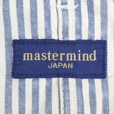 【中古】master mind JAPAN マスターマインドジャパン ×ELATE 13SS ヒッコリーストライプオーバーオール メンズ ブルー S