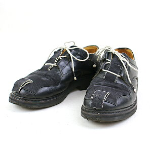 【中古】JOHN MOORE ×rosa mosa ジョンムーア×ロサモサ Toe Strap Patch shoes ストラップパッチレザーシューズ メンズ ブラック 42(26〜26.5cm程度)