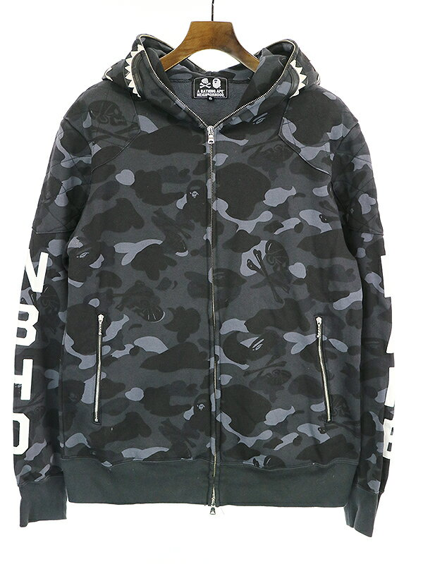 トップス, パーカー A BATHING APE NEIGHBORHOOD 17SS CAMO SHARK FULL ZIP HOODIE XL