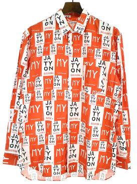 【中古】COMME des GARCONS SHIRT コムデギャルソンシャツ 15AW 英字チェックシャツ オレンジ M メンズ