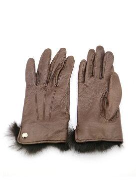 【中古】Chloe クロエ ファーレザーグローブ 手袋 ブラウン その他服飾