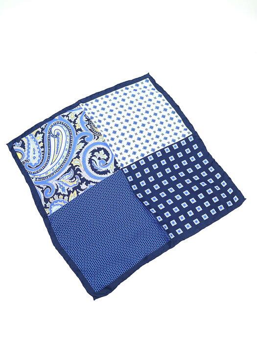 【中古】HAWES & CURTIS ハウズ アンド カーティス 4 WAY CIRCLES シルクポケットチーフ ブルー その他服飾