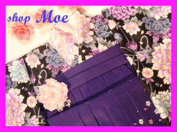 卒業式新品袴スタイル・黒地着物セット・二尺袖着物&紫地刺繍入り袴セット女性和服セット