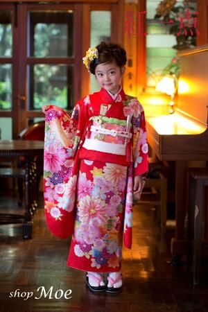 ブランドで差がつく七五三!七五三着物7歳フルセット正絹ブランド着物紅一点七歳7才女児ブランド着物フルセットキッズ着物(kohitten-sp-1)