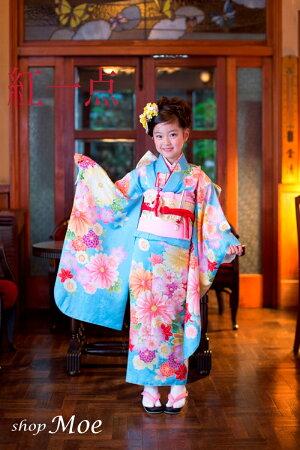 ブランドで差がつく七五三!七五三着物7歳フルセット正絹ブランド着物紅一点七歳7才女児ブランド着物フルセットキッズ着物(kohitten-sp-4)
