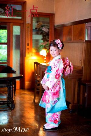 ブランドで差がつく七五三!七五三着物7歳フルセット正絹ブランド着物紅一点七歳7才女児ブランド着物フルセットキッズ着物(kohitten-sp-6)