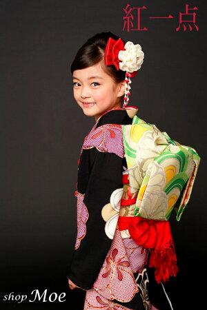 ブランドで差がつく七五三!七五三着物7歳フルセット正絹ブランド着物紅一点七歳7才女児ブランド着物フルセットキッズ着物(kohitten-sp-8)