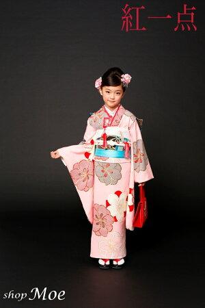 ブランドで差がつく七五三!七五三着物7歳フルセット正絹ブランド着物紅一点七歳7才女児ブランド着物フルセットキッズ着物(kohitten-sp-9)