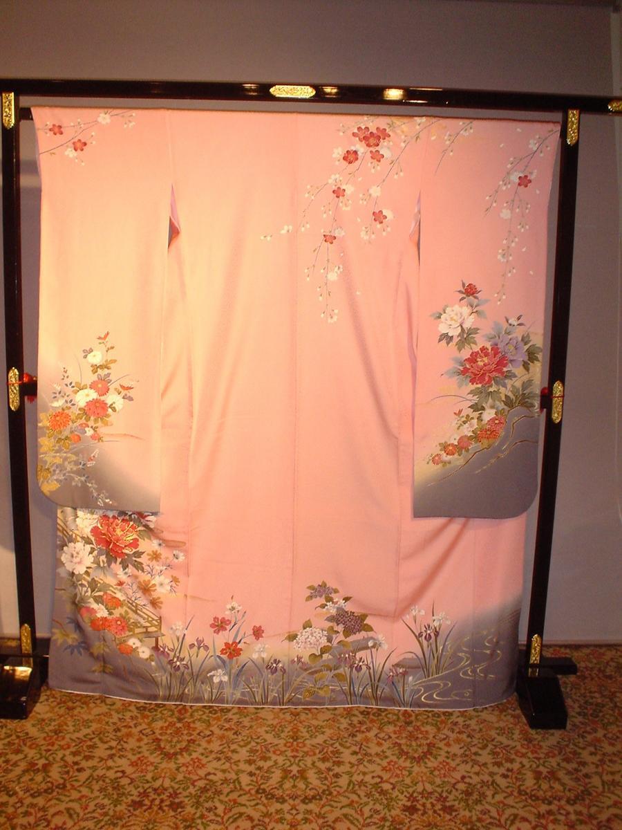 レンタル 成人式正絹振袖セット(ピンク花柄)安心フルセットレンタル