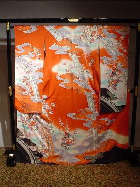 【レンタル】 成人式正絹振袖セット(オレンジ御所車柄)安心フルセットレンタル