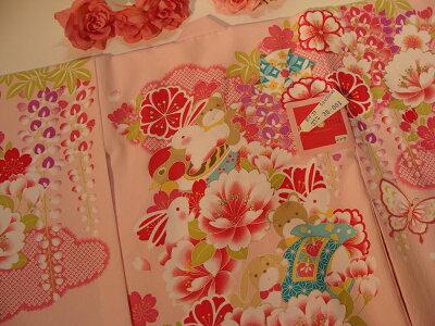 お宮参り♪女の子初着・お宮参り女の子祝着正絹赤地手毬・花柄着物JAPANSTYLEジャパンスタイル祝着初着のしめ