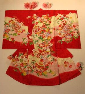 初着・お宮参り女の子祝着正絹赤地手毬・花柄高級着物のしめ