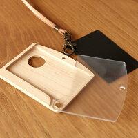 IDカードケース本体、牛革ストラップ、カードサイズの黒スポンジが付属
