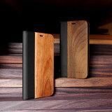 ■「+LUMBER iPhoneX FLIPCASE」iPhoneX アイフォンケース カバー 手帳型 ブック型 ウッド 木製 天然木 Qi対応 かわいい おしゃれ デザイン ギフト プレゼント Hacoa 名入れ可