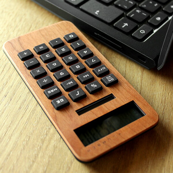 木製ソーラー電卓「SOLAR POWERED CALCULATOR MINI2」
