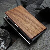 【名入れ可能】重厚感のあるステンレス素材に銘木の魅力をプラスした木製名刺ケース