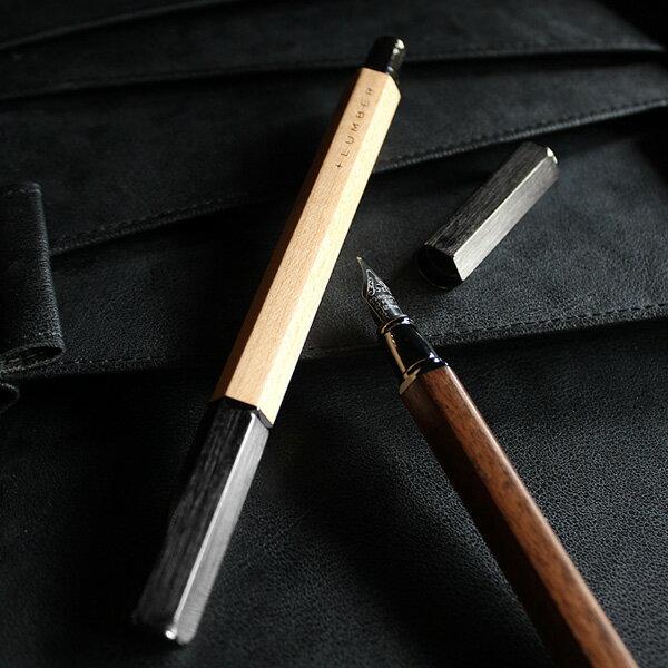 削り出したアルミに銘木をプラスした万年筆「FOUNTAIN PEN HEXAGON」ステンレススチール コンバーター カートリッジ両用式 ペン 文房具