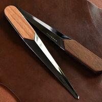 刀のような多面体に銘木をプラスしたレターオープナー・ペーパーナイフ。