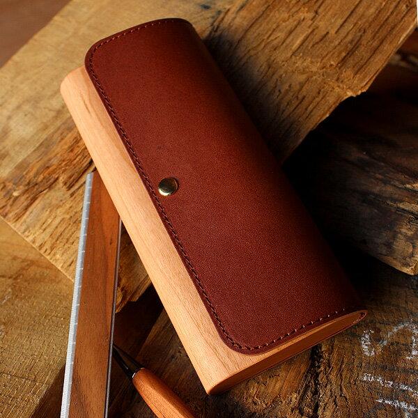 木と革の筆箱・ペンケース
