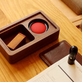 ■【L】木と革の印鑑ケース&捺印マット「STAMP MAT & CASE Lサイズ」