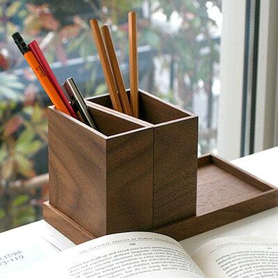 ■木製のモジュールトレイ&ペンスタンドセット 【名入れ可能】おしゃれな木の多形態ペントレー&ペンスタンドセット