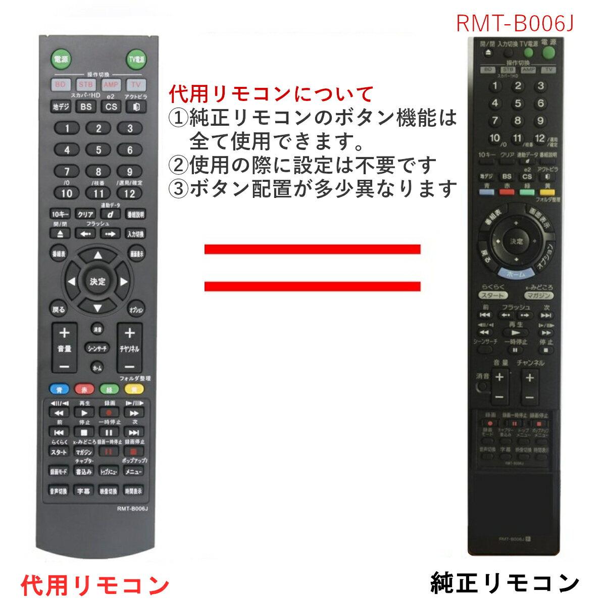 ソニー ブルーレイディスクレコーダー リモコン RMT-B006J  BDZ-RS15 BDZ-RX35 BDZ-RX55 BDZ-RX105 SONY 代用リモコン  PerFascin
