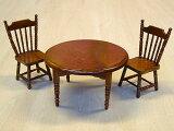 ミニチュア家具丸テーブル+椅子2客セット ブラウン/中国製 木製 箱入り 3点入