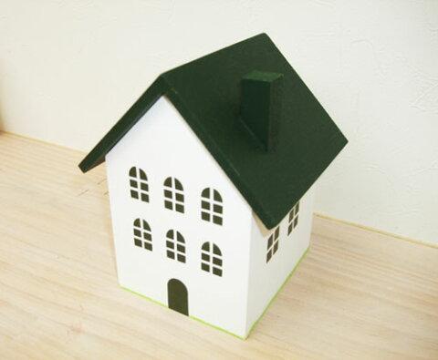 グリーン屋根の小物入れ(M)日本製 ハンドメイド 木製 グリーン 中サイズ 単品