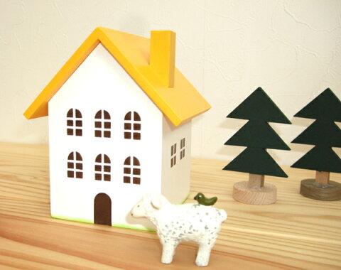 黄色い屋根の小物入れ(M)日本製 ハンドメイド 木製 黄色 中サイズ 単品