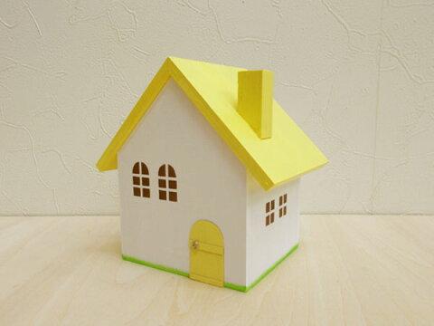 イエロー屋根の小物入れ(S)日本製 ハンドメイド 木製 イエロー 小 単品