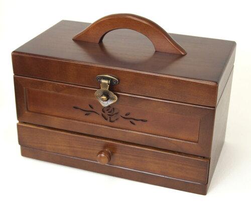 木製ソーイングボックス(小)裁縫箱 1段引出し ローズ ブラウン G-1848B