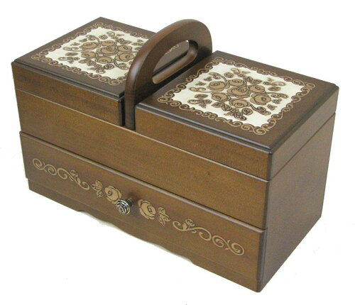 送料無料 日本製 木製ソーイングボックス エクセレンス 立体的に浮き上がったゴールドのローズ...