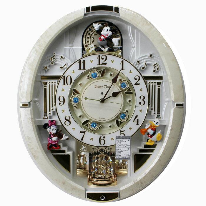 9af3394a49 セイコー SEIKO ディズニータイム からくり時計 電波時計 ミッキー ホワイトマーブル柄 スイープセコンド スワロフスキークリスタル  FW580W【動画あり】送料無料