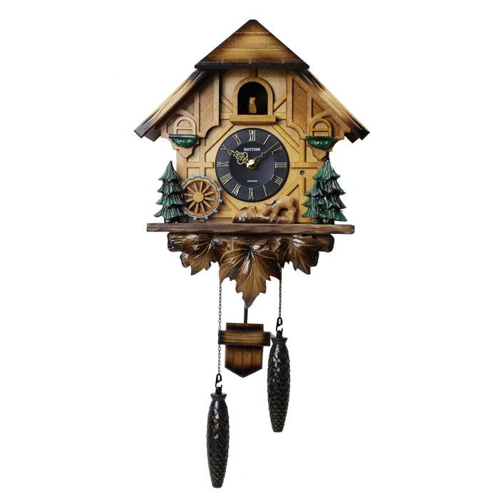 【動画あり】リズム時計 カッコー時計 報時時計 鳩時計 掛け時計 カッコーティンバー 濃茶 ボカシ木地 4MJ423SR06 日本製 送料無料 シチズン