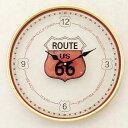 壁掛時計 アンティーク ガラス クロック Route 66 US HLUB9056【あす楽対応】乾電池付
