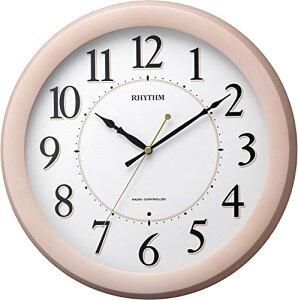 送料無料 リズム時計 電波掛時計 フィットウェーブブリッツ 木枠 ピンク 半艶仕上げ 連続秒針 8MYA24SR13【あす楽対応】