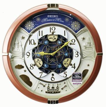 セイコー からくり時計 掛け時計 メロディ全39曲 スワロフスキー・クリスタル 茶メタリック塗装 RE601B ブラウン【あす楽対応】動画あり 送料無料