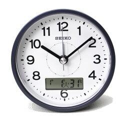 送料無料 訳あり特価 セイコークロック 目覚まし時計 カレンダー 温度 幅10cm 文字高最大8.5mm 電波時計 グレーメタリック KR333N【あす楽対応】