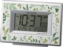 リズム時計 インテリア電波デジタル目覚し時計 フィットウェーブD174 草木柄 緑色 8RZ174SR05