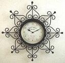 カッコいいデザインの壁掛け時計♪ノーブルアイアンのウォールクロック♪クレスト♪サンドブラウン♪【あす楽対応】