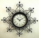 カッコいいデザインの壁掛け時計♪ノーブルアイアンのウォールクロック♪クレスト♪ブラック【あす楽対応】