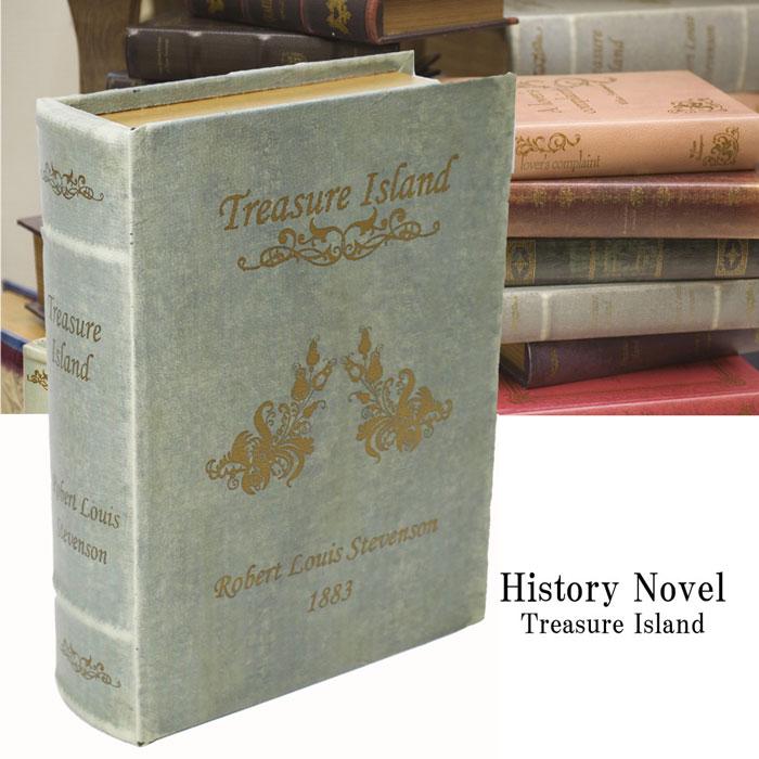 シークレットブック ヒストリーノーベル Lサイズ 洋書型小物入れシークレットボックス グレー Treasure Island LV09095-1(L)【あす楽対応】