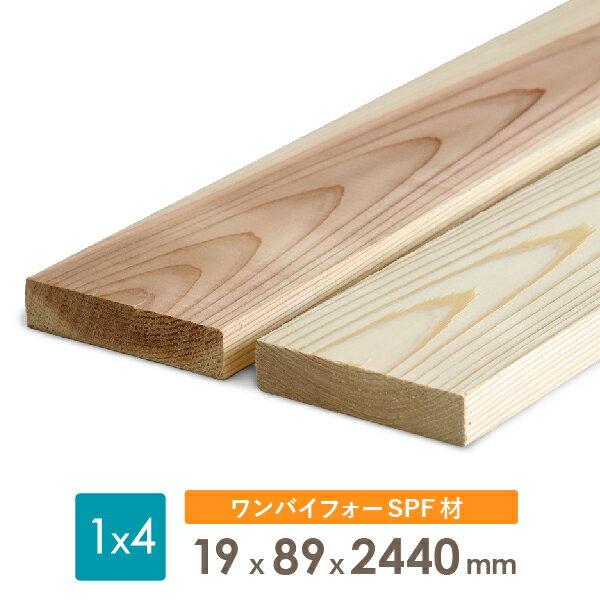ディメンションランバー SPF ワンバイ材1×4 木材約19x89x2440(ミリ)長さのみ2カットまで無料、3カット目から有料【dt】