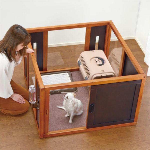 リッチェル 木製スクエアペットルーム 90-90ダークブラウン サークル 小型犬