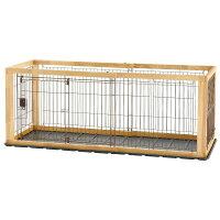 リッチェル木製スライドペットサークルレギュラーダークブラウン/ナチュラルサークル小型犬用