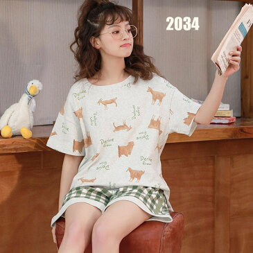 パジャマ レディース 夏 半袖 寝巻き 部屋着 綿パジャマ パンツ 可愛い オシャレ きれいめ 上下セット レディースルームウエア ゆったり 7色