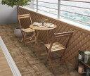 アカシア天然木スリムダイニングガーデンファニチャー Cyrielle シリエル 3点セット(テーブル+チェア2脚) ラウンドテーブル W60